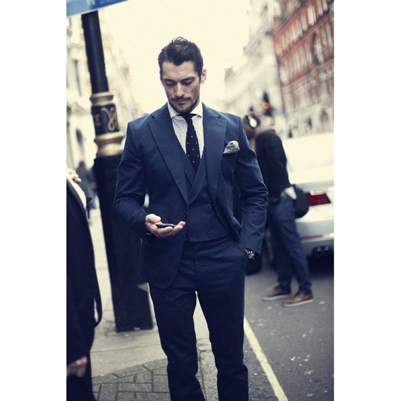 David Gandy 2017, navy blue Wedding Mens Suits Custom 2018 ...