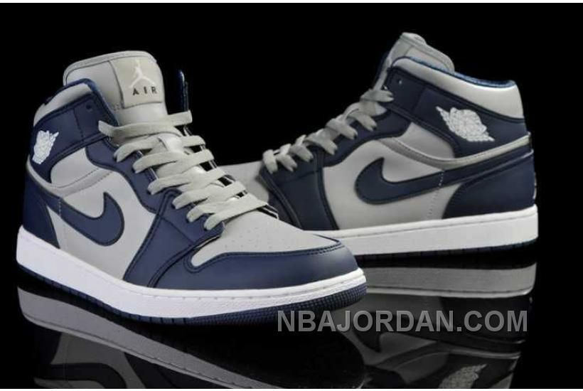 navy blue and white air jordan 1