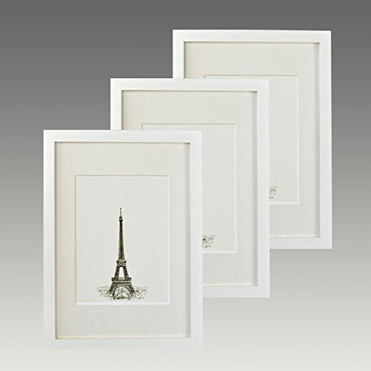 Pack Of 3solid Wood A4 Photo Frame Glass Front With Photo Mounts