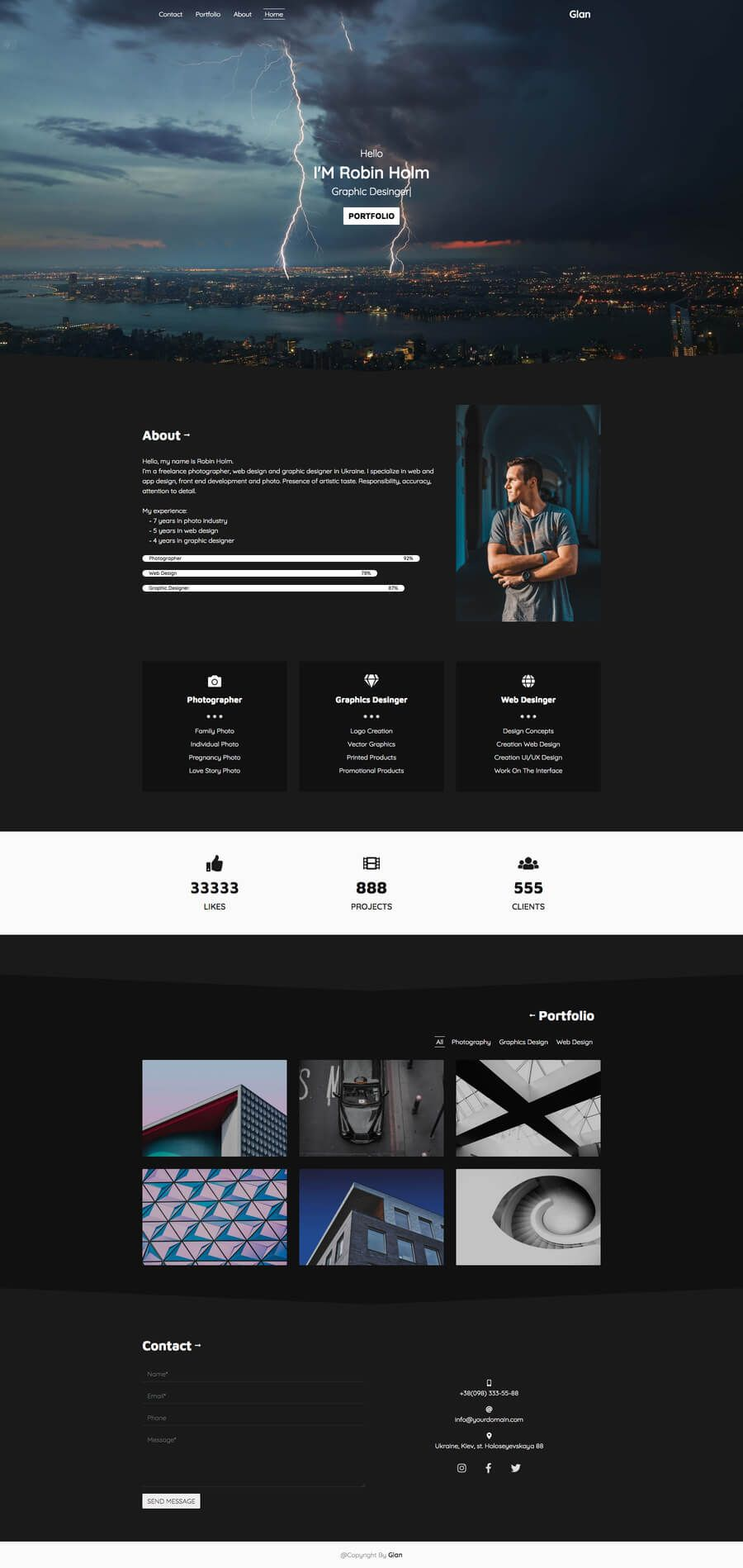 Glan One Page Portfolio Bootstrap 4 Web Layout Design Portfolio Business Card Design Inspiration