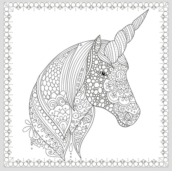 Printable Coloring Page Zentangle Unicorn Coloring Book Etsy In 2021 Unicorn Coloring Pages Horse Coloring Pages Unicorn Pictures To Color