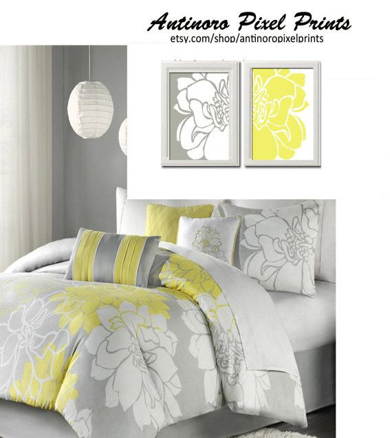 Yellow Grey White Wall Art Vintage / Modern Inspired -Set of 2