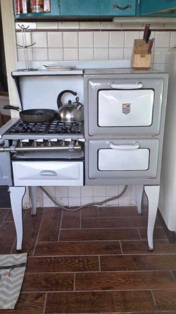 details about vintage antique a b battle creek blue porcelain enamel gas cook stove and oven in. Black Bedroom Furniture Sets. Home Design Ideas