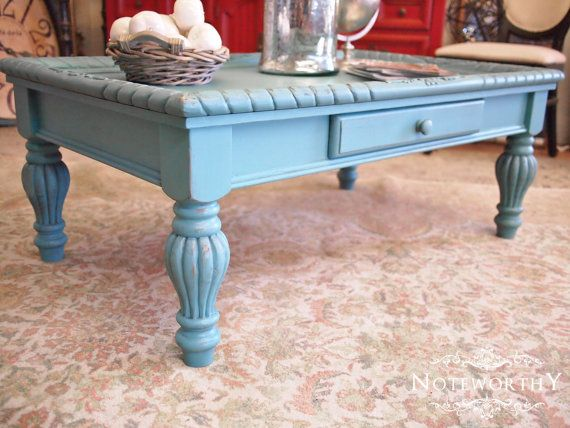 Turquoise Coffee Table By Noteworthy Home Painted Turned Legs Rope Detail Distressed Furniture