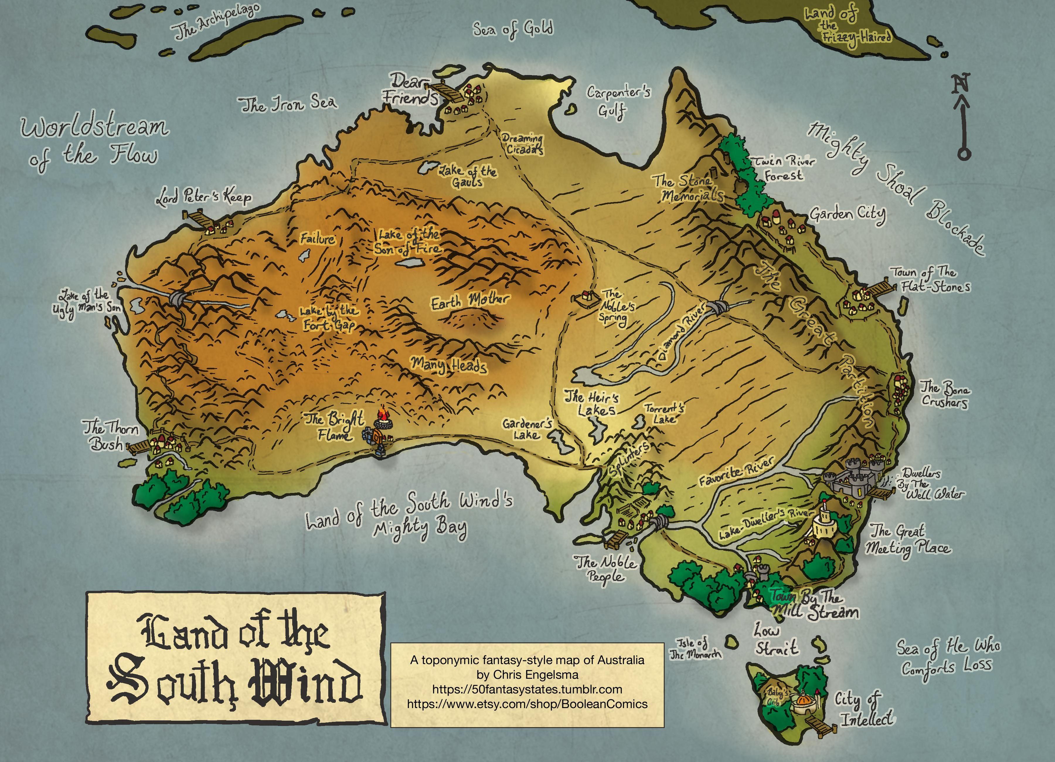 Map Of Australian Landscapes.Toponymic Fantasy Style Map Of Australia Fantasy Map In 2019