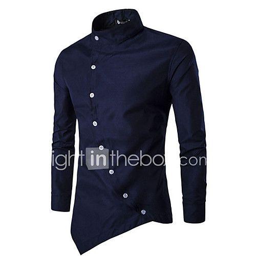 755b68f9f0216 Masculino Camisa Social Casual SimplesHoundstooth Azul Vermelho Branco  Preto Algodão Colarinho de Camisa Manga Longa de 2017 por R 30.39
