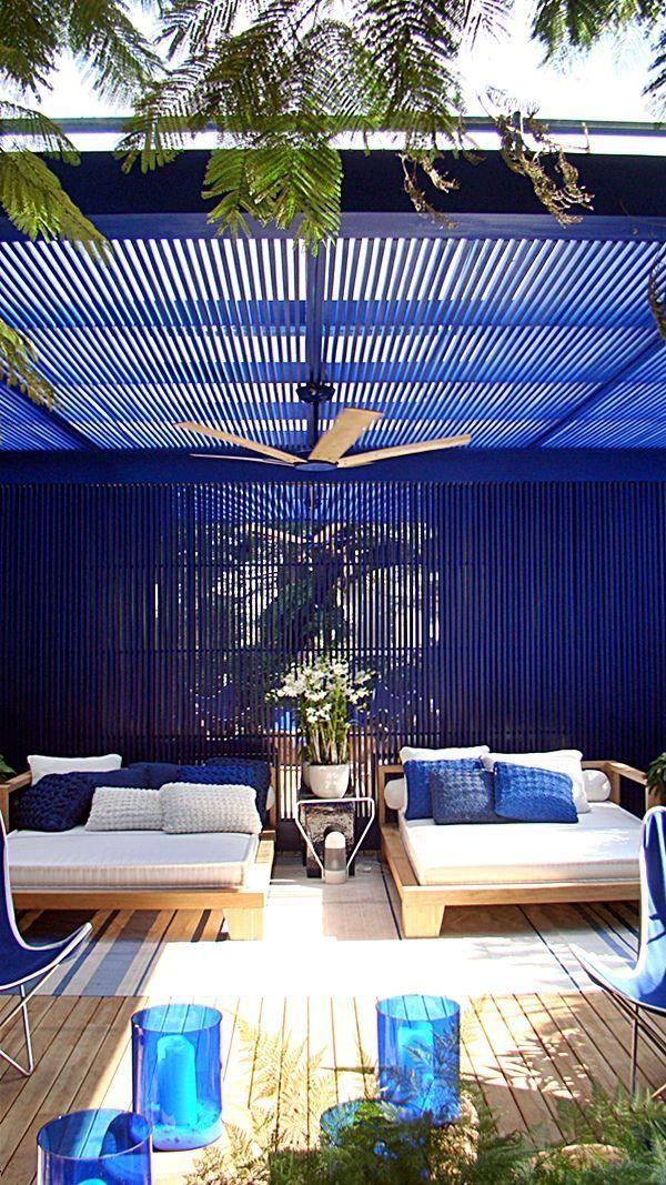 En Blanco Madera Y Azul Sala De Exterior Patio Al Aire Libre Disenos De Pergola