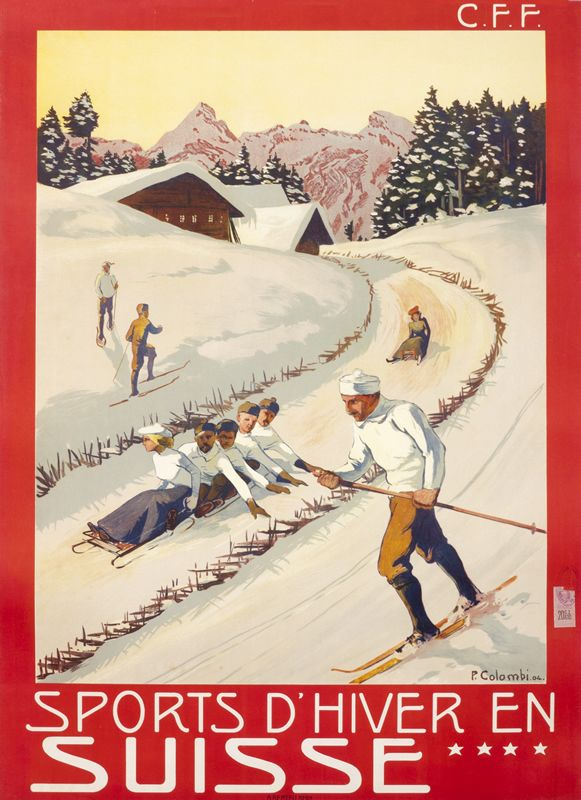 Sports d'Hiver en Suisse - C.F.F., 1904 | One of the most sought-after collectibles today, ski posters capture the joy of fresh mountain air and the exhilaration of a downhill run through tree-lined glades. Combining travel, sports, and fashion, the ski and other wintersport posters have become a blue-chip category around the world over the last fifteen years. Learn more at http://www.internationalposter.com/about-poster-art/subject-primers/ski-posters.aspx