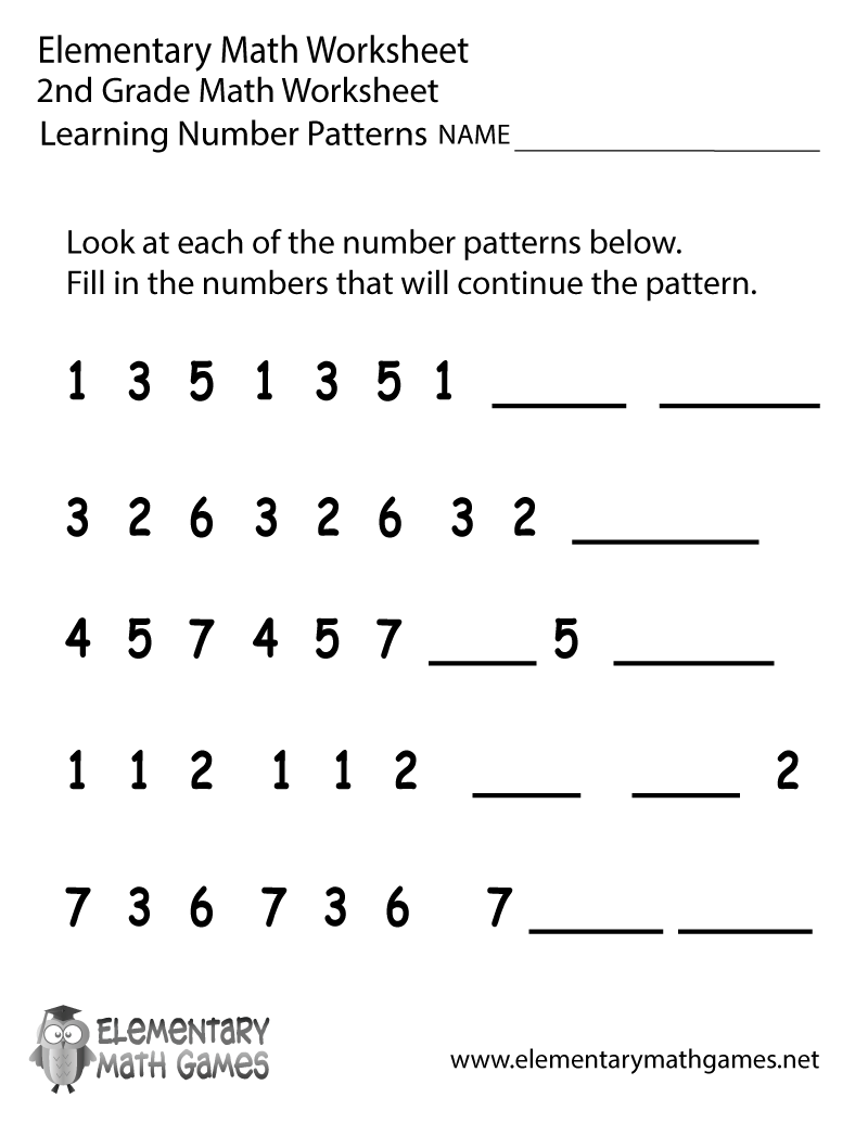 Learning Sheets For 2nd Graders Second Grade Number Patterns Worksheet Printable Math Fact Worksheets 2nd Grade Math Worksheets Kids Math Worksheets