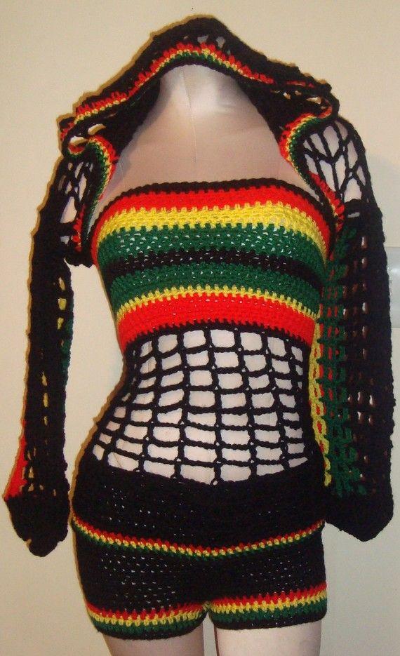 Bob Marley Colors - Hooded Shrug w/ Matching Boy Shorts and Tube Top ...