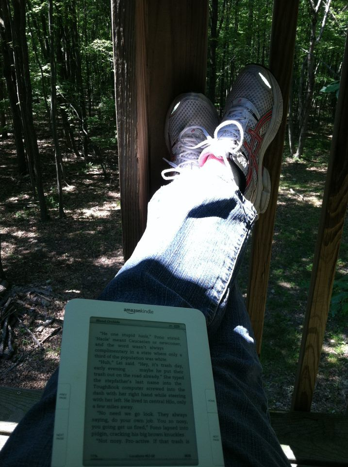 Just relaxing in the woods.  Feet up, a Kindle, and a Yuengling!