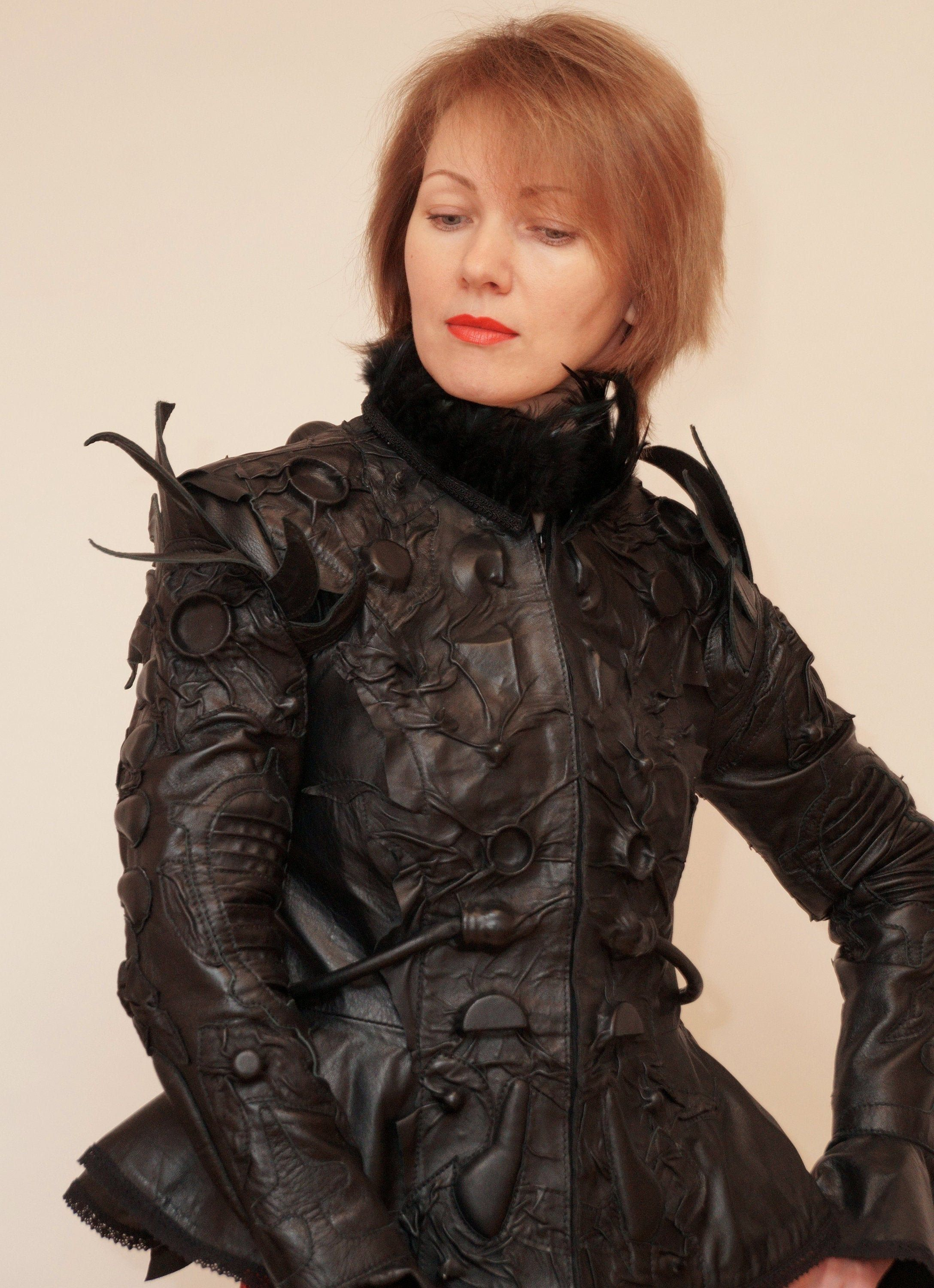 Unique women's Jacket black genuine leather with lace bell