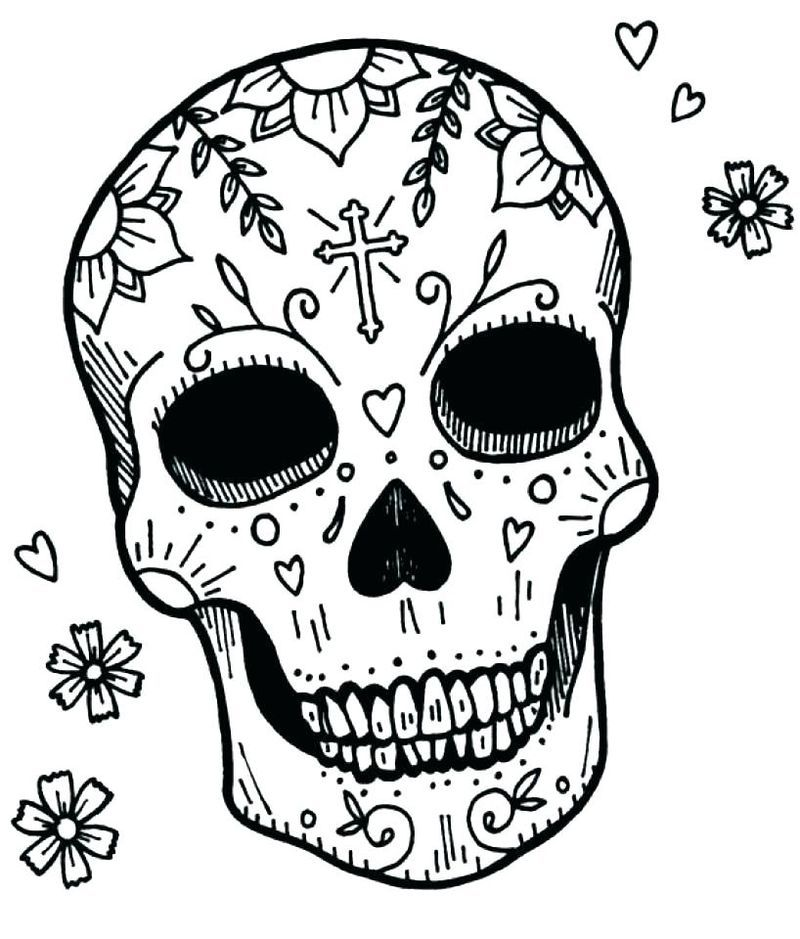 Day Of The Dead Coloring Pages Printable Skull Coloring
