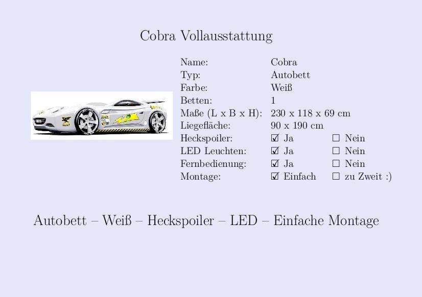 Kinderbett auto weiss  Cobra #Kinderbett #Jungs #Auto #Weiß #Heckspoiler | Steckbrief ...