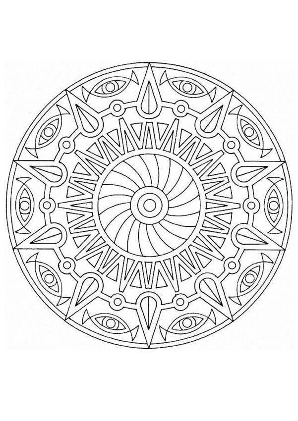 This advanced Mandala coloring sheet has a fun design and is quite ...
