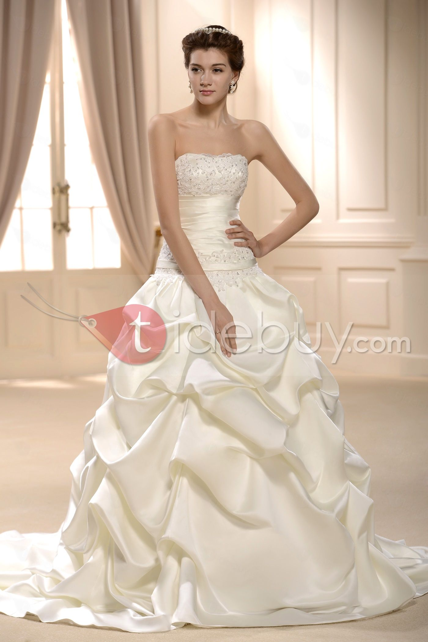Princess Ball Gown Floor-Length Strapless Wedding Dress : Tidebuy ...