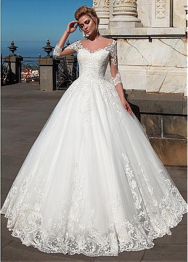 Wonderful Tulle Organza V Neck Neckline Ball Gown Wedding Dresses With Lace Applique In 2020 Wedding Dresses Lace Ballgown Ball Gown Wedding Dress Ball Gowns Wedding