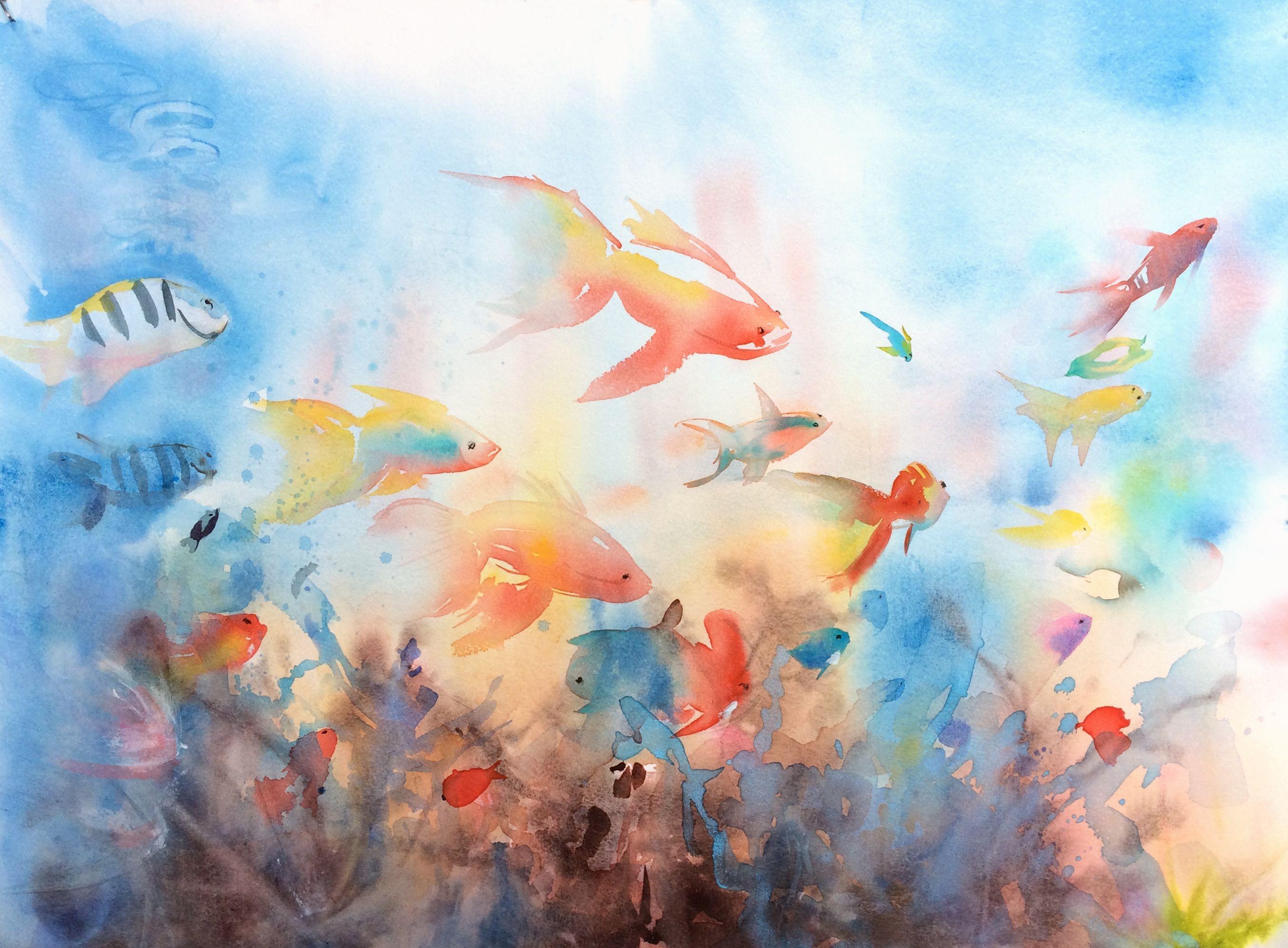 Sous L Ocean Dessin Aquarelle Aquarelle Peinture Aquarelle