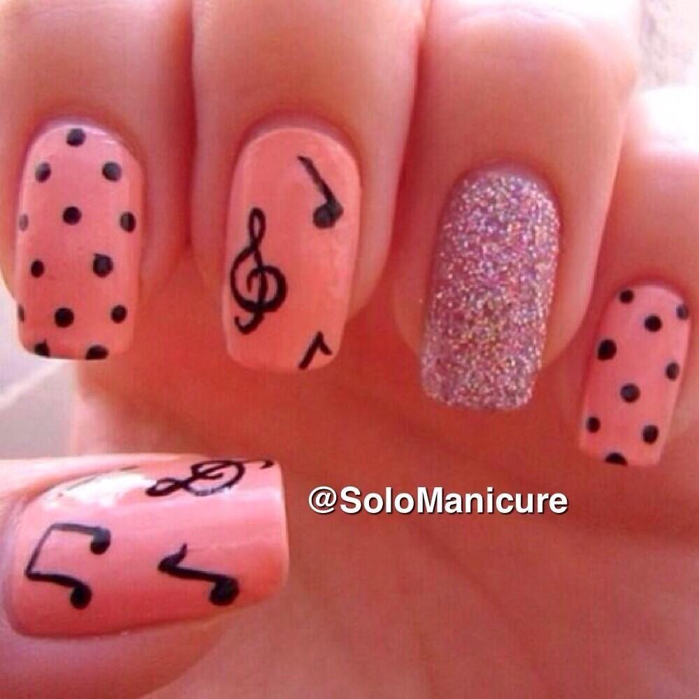 Nial Art #Uñas #Notas #Musicales #Pink