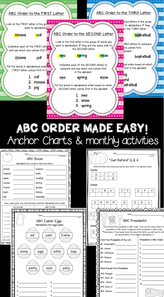 Freebies Teach Abc Order To The First Second And Third Letter