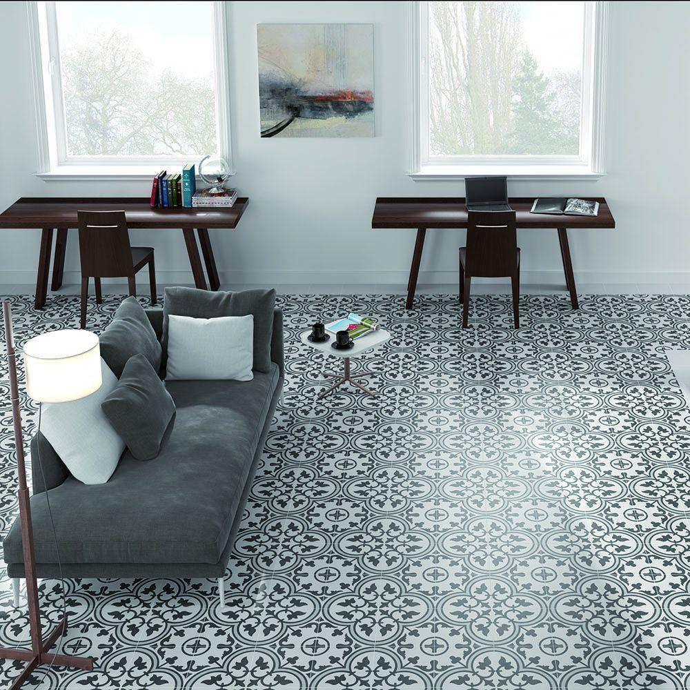 Merola Tile Arte Grey Encaustic 9-3/4 in. x 9-3/4 in. Porcelain ...