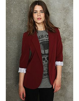 Burgundy Blazer Women Photo Album - Reikian