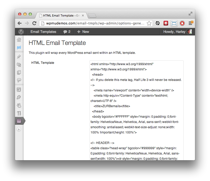 Html Email Templates For Wordpress Email Pinterest