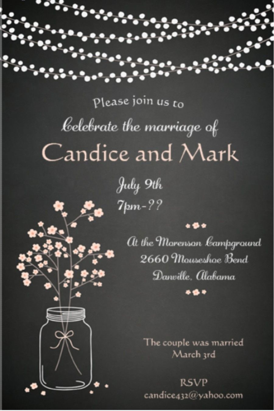 After The Wedding Party Invitations Or Elopement Mason Jar And Lights