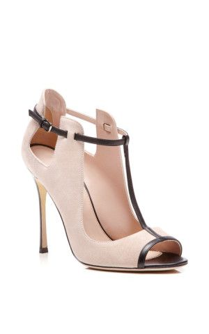 Emperor Leather-Trimmed Suede Pumps by Sergio Rossi - Moda Operandi