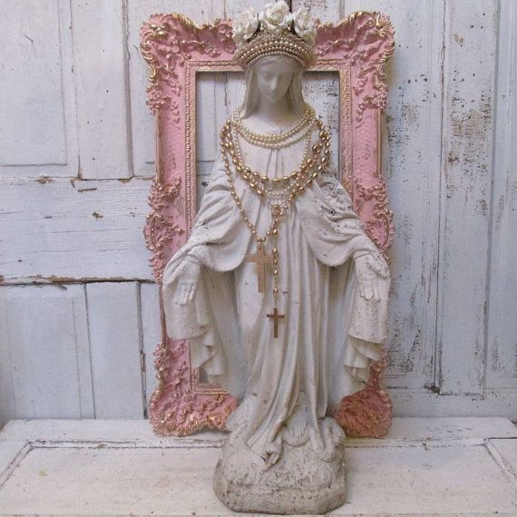 Antique White Virgin Mary Statue W/ Pearl And Roses Crown