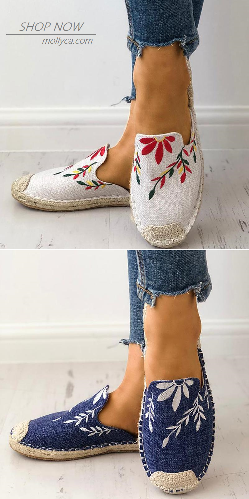 e02296028379  29.99 USD Sale! Free Shipping! Shop Now! Women Fashion Embroidered  Espadrille Flat Slippers Shoes