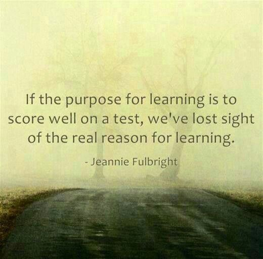 """This quote talks about the purpose for learning. If our students know the purpose of learning is to do well in their futures, they will have the desire to learn to the best of their abilities. The """"scoring well on a test"""" is not the best way to motivate students into their futures."""