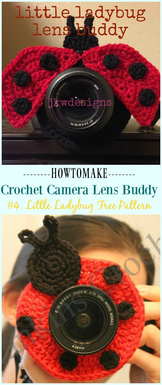 Crochet Camera Lens Buddy & Cozy Patterns #crochetcamera