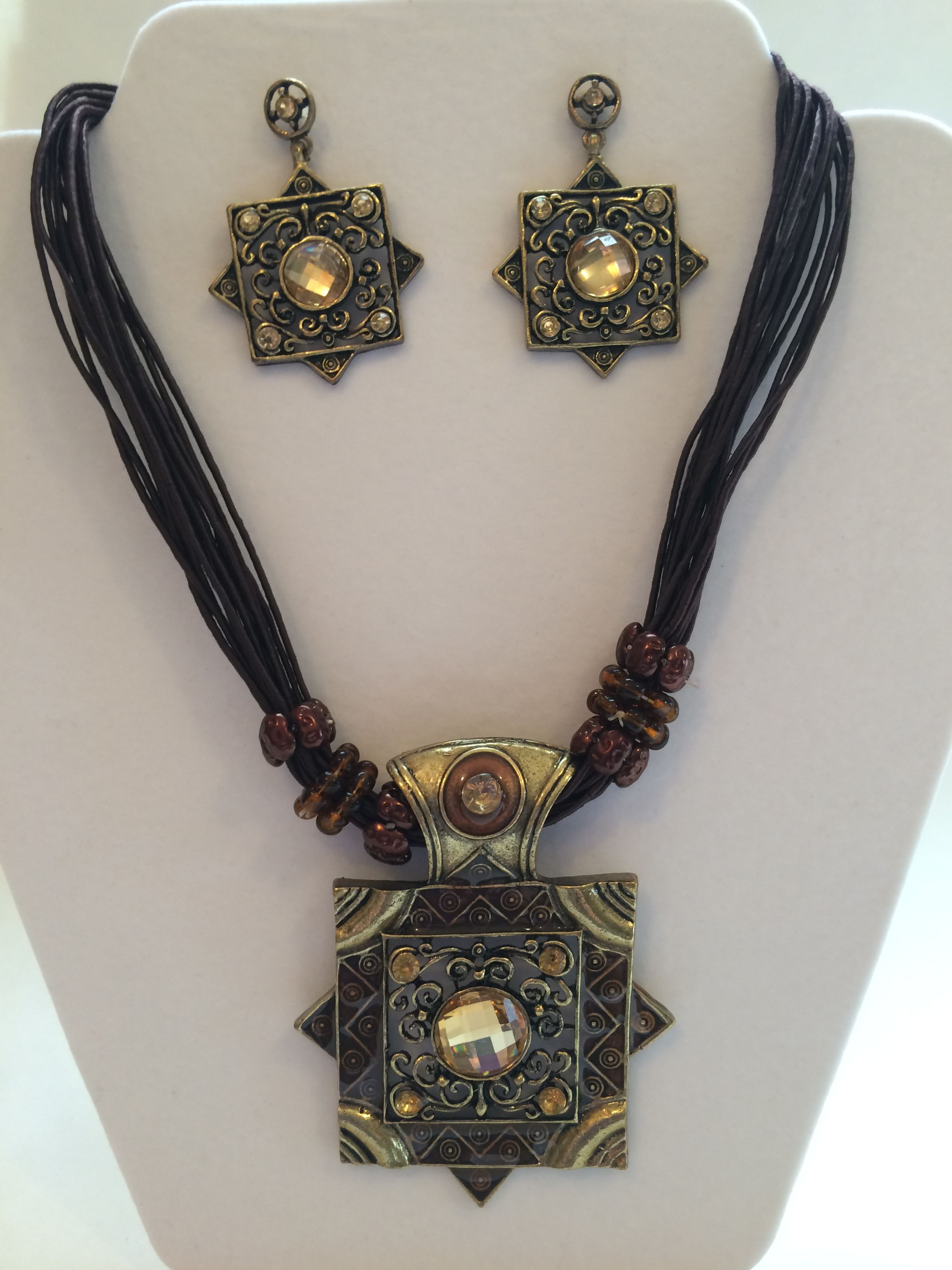 Antique gold finished double square pendant necklace and earring set
