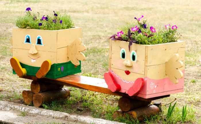 Macetas recicladas con madera macetas decoradas - Maceteros madera exterior ...