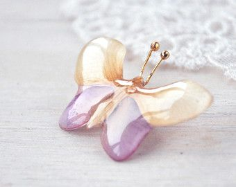 White Pink Butterfly brooch  Real flower resin от OneFlowerStory