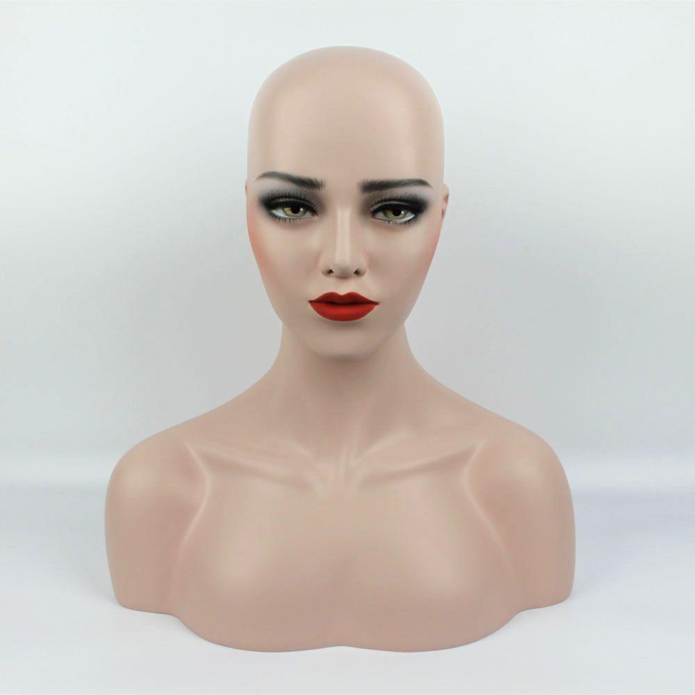 New Arrival plus size Fiberglass Realistic female mannequin heads manikin  dummy head bust wigs head display