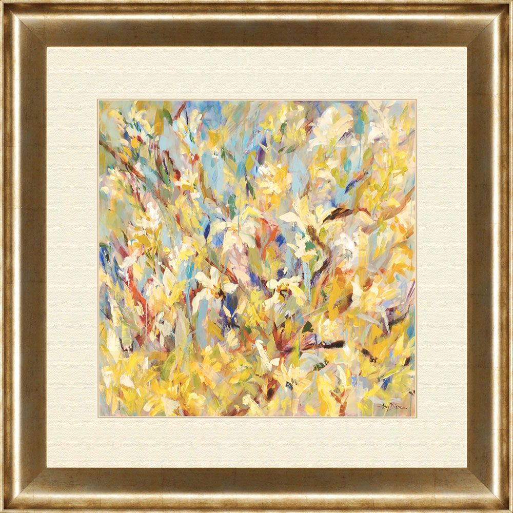 A kaleidoscope of color! Framed in gold finish molding. | Floral Art ...