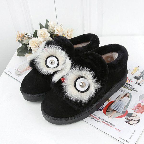 Slip On Lion Eyes Suede Round Toe Warm Plush Short Boots