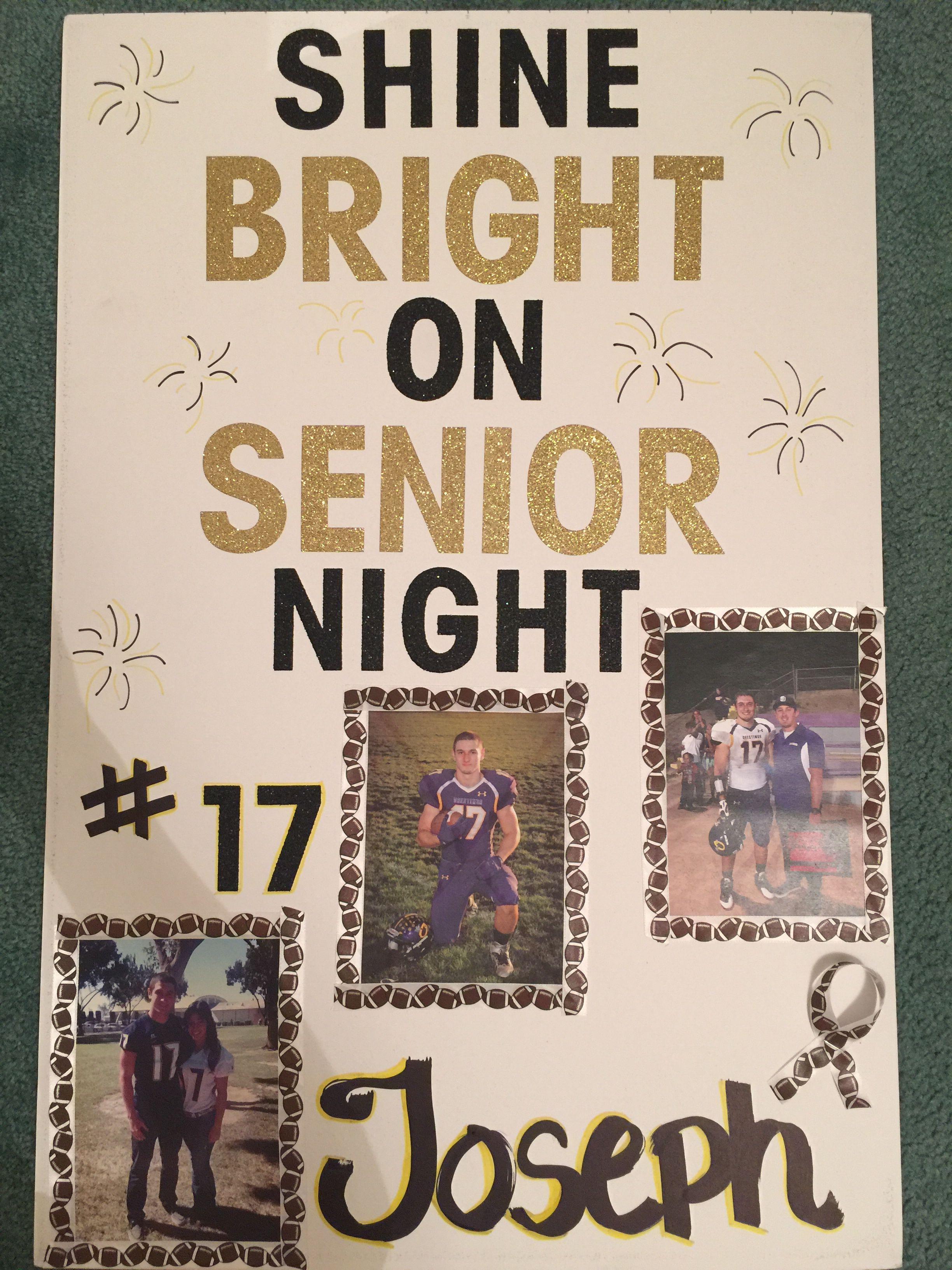 Senior night high school football poster for boyfriend inspired by pinterest ideas football for Softball poster ideas