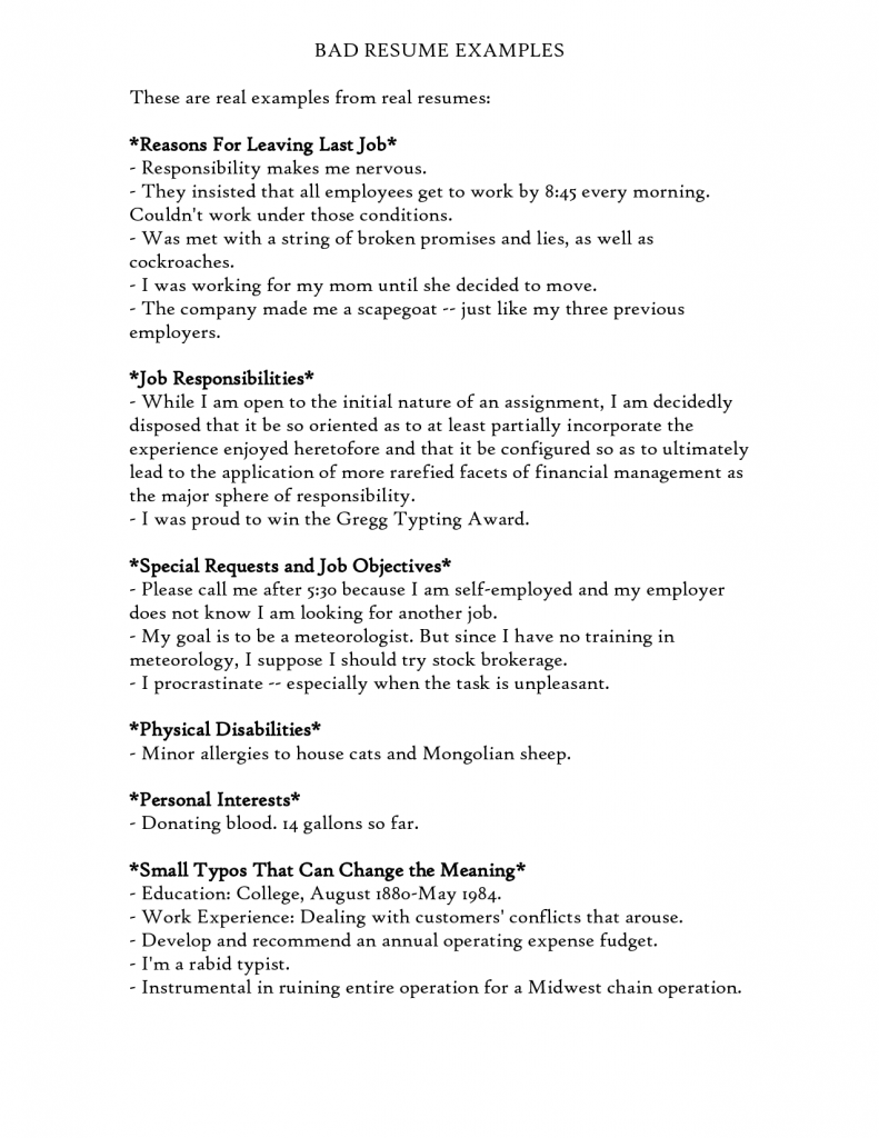 Find Answers Here For Examples Of Bad Resumes Resume