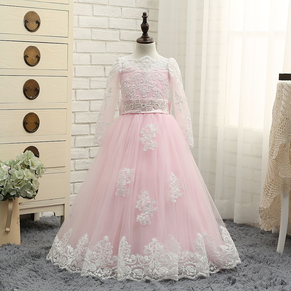 2018 Adorable Beige Lace Appliques Pink Floor Length Flower Girl Dresses  For Wedding Ball Gown Children Pageant Dress Kids Prom Party Gowns 4bb75983b629