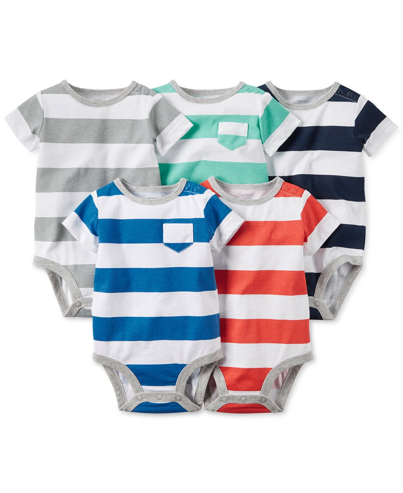 8e93a410b0 Carter s Baby Boys  5-Pack Stripe-Print Bodysuits - Newborn Shop - Kids    Baby - Macy s