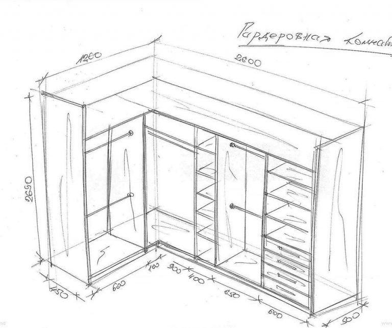 Г-образная гардеробная схема с размерами | Макет шкафа ...  Дизайн Спальни С Угловой Гардеробной