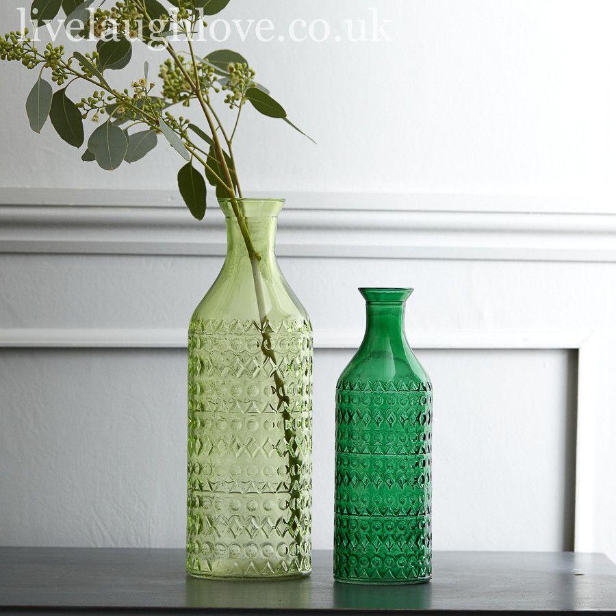 Set Of 2 Decorative Green Glass Bottle Vases L Light S Dark In