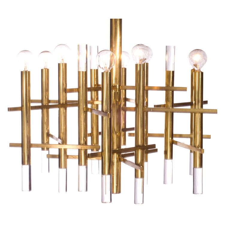 lamp lucite wall sciolari chandelier in chrome and