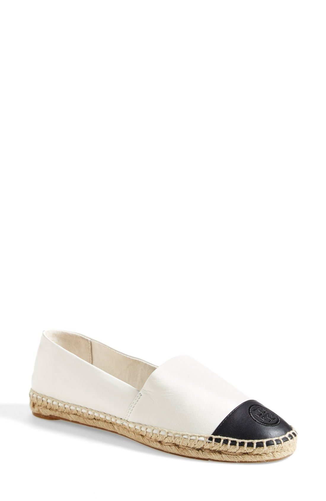 5bb1522e5 A raised Tory Burch logo lends signature polish to this colorblocked  espadrille with a crackled metallic-leather finish and a jute-trimmed sole.