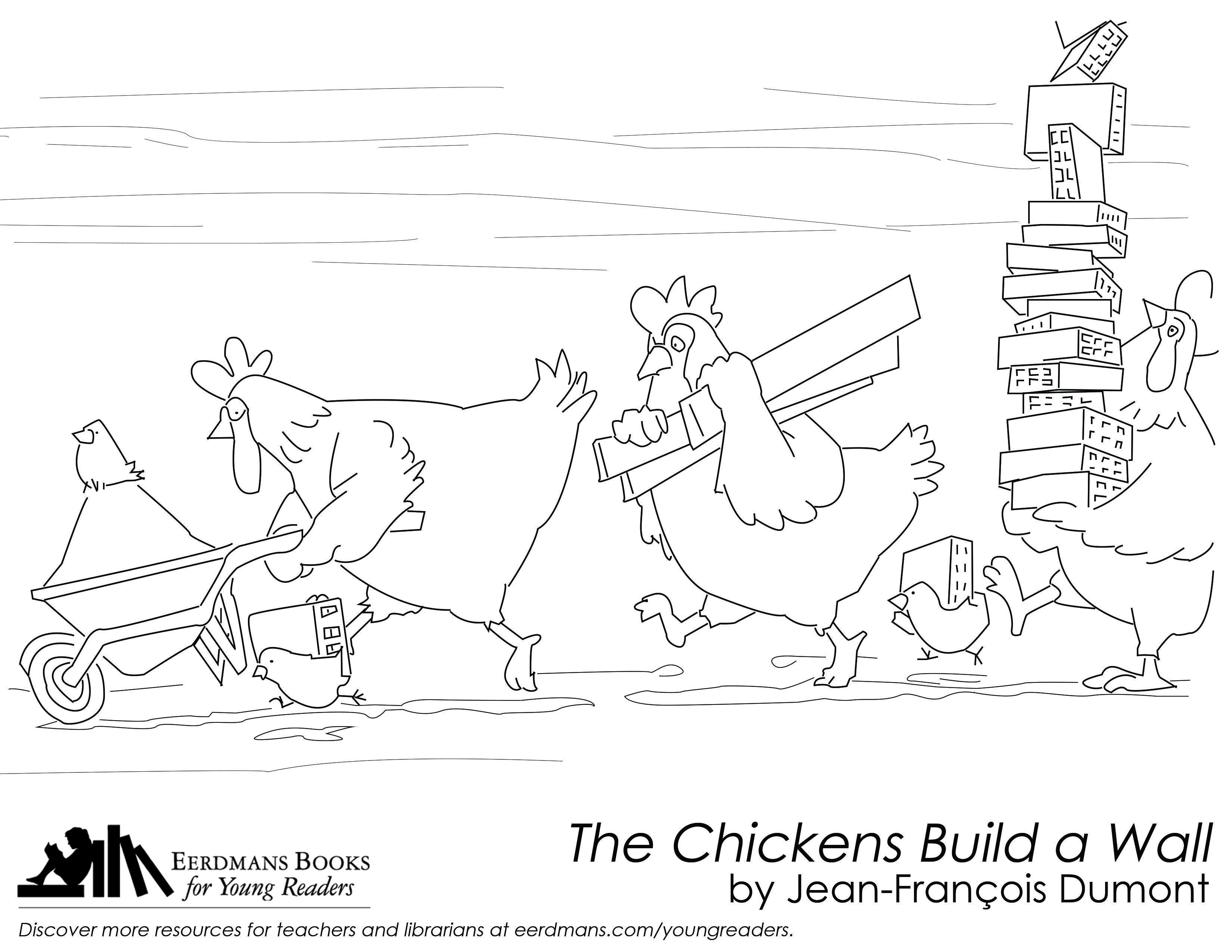 The Chickens Build A Wall Coloring Page Free