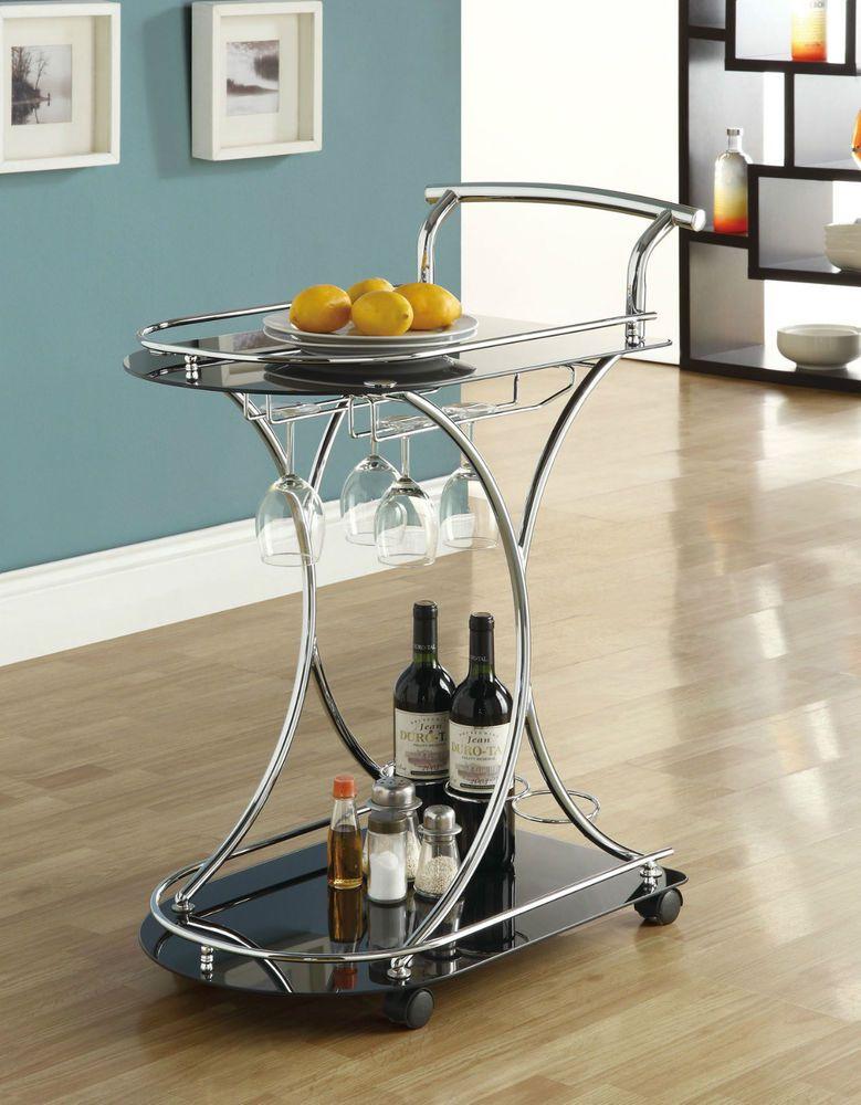 NEW Vintage Rolling Tea Glass Metal Beverage Bar Serving Cart Patio Drink Tray For my livingroom