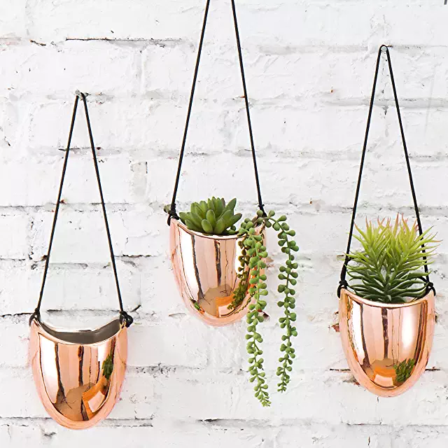 Amazon Com Copper Kitchen Wall Decor Hanging Planters Clay Wall Hanging Affordable Decor